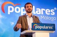 Pablo Casado, durante la clausura de un acto del PP en Alhaurín El Grande (Málaga).