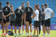 Los jugadores del Hércules en el último entrenamiento antes del partido.