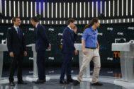 Los candidatos de los principales partidos políticos en las pasadas elecciones generales se preparan para el debate organizado por RTVE.