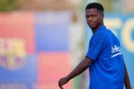 Ansu Fati, durante el entrenamiento del viernes.