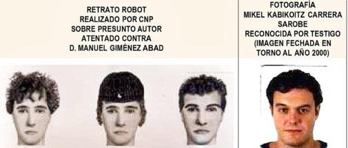 A la izquierda, retrato robot del asesino realizado en 2001 con los...