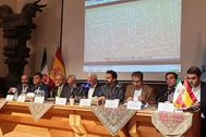 Las autoridades en la presentación de la muestra del MNI.