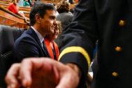 Pedro Sánchez, en su escaño durante el último Pleno del Congreso, el pasado miércoles.