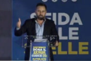 Santiago Abascal, durante su intervención en el acto de Hermanos de Italia.