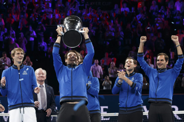 Geneva (Switzerland).- Team Europe's Rafael Nadal lifts the...