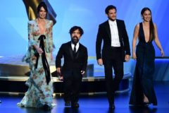 (From L) Lena Headey, Peter Dinklage, Kit Harington and <HIT>Emilia</HIT> Clarke walk onstage during the 71st Emmy Awards at the Microsoft Theatre in Los Angeles on September 22, 2019. (Photo by Frederic J. BROWN / AFP)