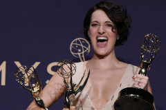 71st Primetime Emmy Awards - Photo Room - Los Angeles, California, U.S., September 22, 2019 - Phoebe Waller-Bridge poses backstage with her Outstanding Leading Actress in a Comedy Series and Outstanding Writing for a Comedy Series awards for