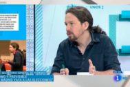 Pablo Iglesias, en un momento de la entrevista en TVE.