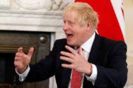 Britain's Prime Minister <HIT>Boris</HIT> <HIT>Johnson</HIT> meets with Qatar's Emir Sheikh Tamim bin Hamad Al Thani in London