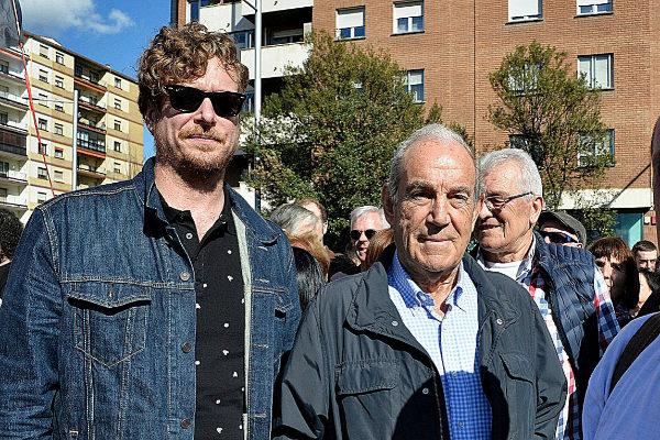 Maiorga Ramírez junto al ex lehendakari Carlos Garaikoetxea durante un acto celebrado en Pamplona.