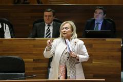 Mercedes Fernández, durante una de sus intervenciones en la Junta General del Principado de Asturias.