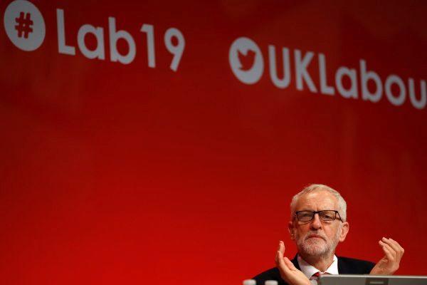 El líder laborista británico, Jeremy Corbyn, en la conferencia de Brighton.