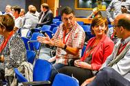 Aitor Esteban, Josune Gorospe y Joseba Agirretxea, ayer, durante la asamblea nacional del PNV.