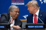 Donald Trump y António Guterres se dan la mano durante un evento previo a la Asamblea de la ONU.