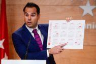 El vicepresidente de Madrid, Ignacio Aguado, con el calendario.