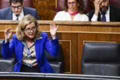 La ministra de Economía, Nadia Calviño, en el Congreso de los Diputados.