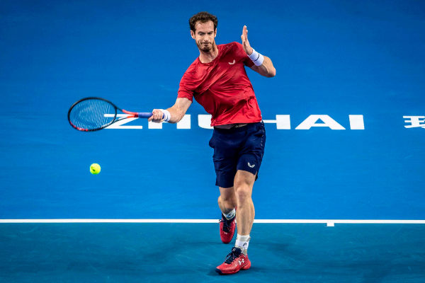 Andy <HIT>Murray</HIT> of Britain hits a return against Tennys...