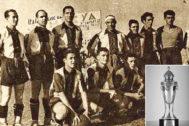 El equipo campeón y el trofeo de 1937.