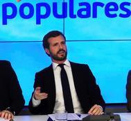 Pablo Casado, presidente del PP, durante la reunión del Comité Ejecutivo Nacional el lunes.