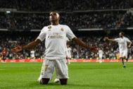 Rodrygo celebra su gol ante Osasuna en su debut oficial.