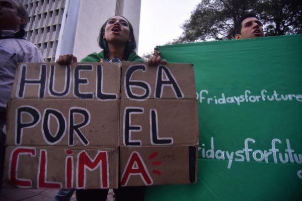 Manifestantes por el clima en Colombia
