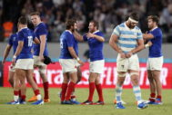 Tokyo (Japan).- Marcos Kremer (R) of Argentina reacts at the end of the <HIT>Rugby</HIT> World Cup match between France and Argentina in Tokyo, Japan, 21 September 2019. France won the match. (<HIT>Francia</HIT>, Japón, Tokio) EPA/ EDITORIAL USE ONLY/ NO COMMERCIAL SALES / NOT USED IN ASSOCATION WITH ANY COMMERCIAL ENTITY