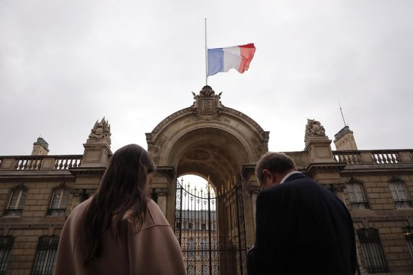 Metz (France).- A French flag flies at a half-mast following the death...