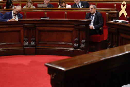 El presidente catalán, Quim Torra, este jueves, en el Parlamento de...