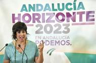 Teresa Rodríguez, líder de Adelante Andalucía, en rueda de prensa.