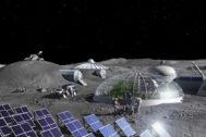 En la imagen, una impresión artística de la visión de la Agencia Espacial Europea para sus actividades en la luna.