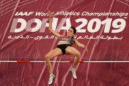 Lasitskene, en la clasificación del salto de altura en Doha.