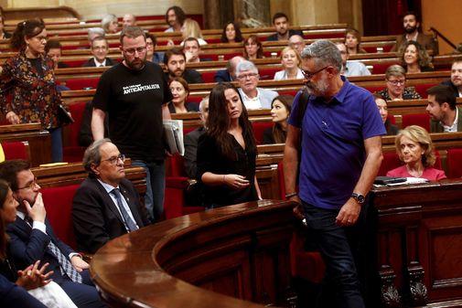 Los diputados de la CUP Carles Riera (dcha.), Maria Sirvent, Vidal...