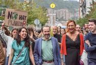 Los miembros de Equo Berdeak José Ramón Becerra y Carmen Muñoz durante la marcha contra el Cambio Climático en Bilbao.