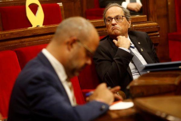 El presidente de la Generalitat, Quim Torra, en el Debate de política...