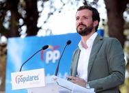 El presidente del PP, Pablo Casado, en el Día del Afiliado del PP aragonés, este domingo, en Zaragoza.