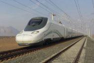 El tren de alta velocidad que une La Meca y Medina.