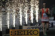 Jesús Ángel  García Bragado llega a meta en los 50 km. marcha.