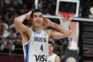 Beijing (China).- Luis <HIT>Scola</HIT> of Argentina reacts during the FIBA Basketball World Cup 2019 final match between Argentina and Spain in Beijing, China, 15 September 2019. (Baloncesto, España) EPA/