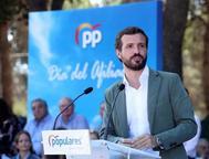 El presidente del PP, Pablo Casado, durante un acto del partido en Zaragoza.