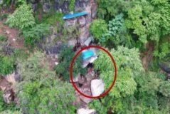 Cueva que sirvió de refugio a un fugitivo durante 17 años, en China.