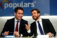 Teodoro García Egea y Pablo Casado, este lunes, en Barcelona.