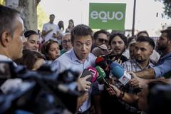 El candidato de Más País, Íñigo Errejón, el pasado viernes ante la prensa.