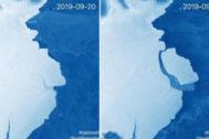 Imagen de la plataforma de hielo Amery, una de las más grandes de la Antártida, en la que se aprecia la grieta.