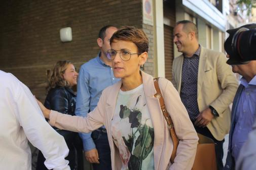 María Chivite, presidenta del Gobierno Foral de Navarra, al llegar a...