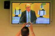 Rodrigo Rato, durante un momento del juicio de Bankia celebrado en la Audiencia Nacional