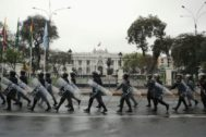 Police keep watch outside Congress after President Martin Vizcarra shut down Congress in Lima