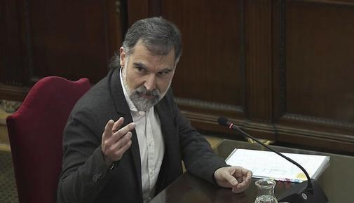 El acusado Jordi Cuixart, en un momento del juicio al 'procés', en el...