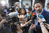 El líder de Vox, Santiago Abascal, ayer, en Barcelona.