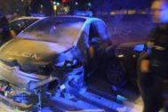 Tres aluniceros detenidos tras una persecución en la que acabaron destrozados varios coches policiales