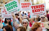 Manifestación convocada por Teruel Existe, este miércoles, en Valencia.